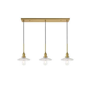 Waltz Brass 41-Inch Three-Light Pendant