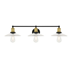 Waltz Brass and Black 33-Inch Three-Light Bath Vanity