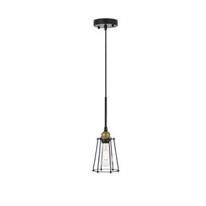 Auspice Brass and Black Five-Inch One-Light Mini Pendant