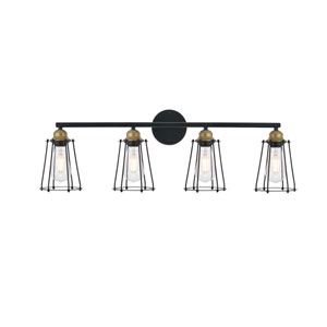 Auspice Brass and Black Four-Light Wall Sconce