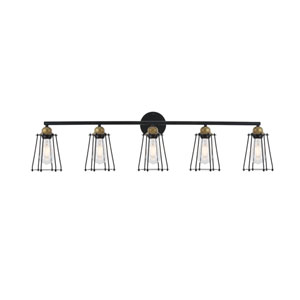Auspice Brass and Black Five-Light Wall Sconce