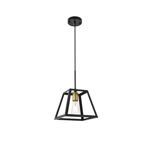 Resolute Brass and Black Nine-Inch One-Light Mini Pendant
