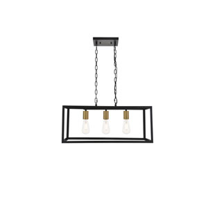 Resolute Brass and Black Three-Light Island Pendant
