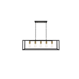 Resolute Brass and Black Five-Light Island Pendant
