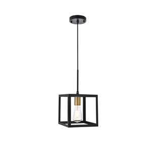 Resolute Brass and Black Eight-Inch One-Light Mini Pendant