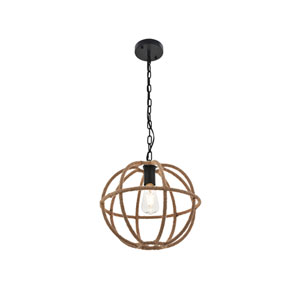 Octavia Black and Linen 14-Inch One-Light Pendant