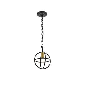 Octavia Brass and Dark Brown Eight-Inch One-Light Mini Pendant