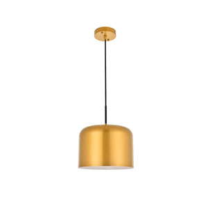 Etude Satin Gold and Black 11-Inch One-Light Pendant
