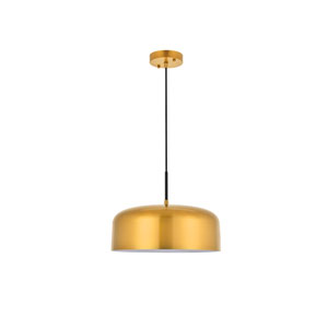 Etude Satin Gold and Black 14-Inch One-Light Pendant