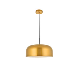 Etude Satin Gold and Black 17-Inch One-Light Pendant