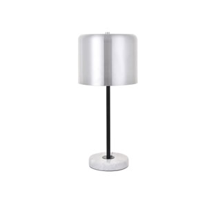 Exemplar Brushed Nickel Black and White Nine-Inch One-Light Table Lamp
