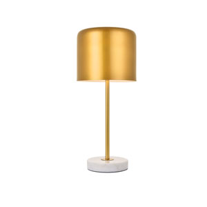 Exemplar Satin Gold and White Nine-Inch One-Light Table Lamp
