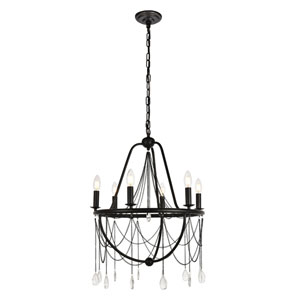 Brinley Dark Bronze 21-Inch Six-Light Chandelier