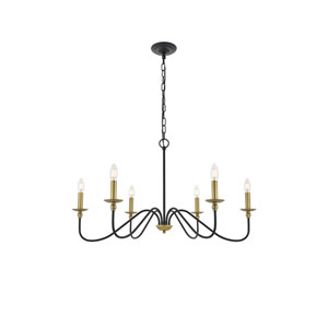 Rohan Matte Black and Brass Six-Light Chandelier