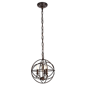 Wallace Dark Copper Brown Three-Light Pendant