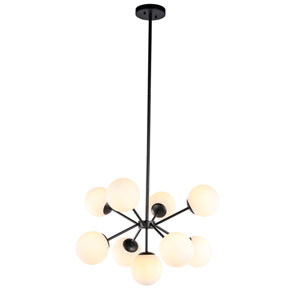 Jupiter Black Nine-Light Pendant with Frosted White Glass
