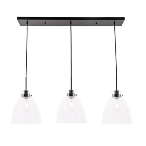 Frey Black Three-Light Pendant with Clear Glass