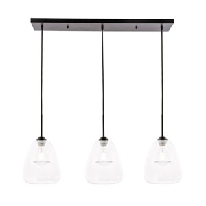Kason Black 36-Inch Three-Light Pendant with Clear Glass