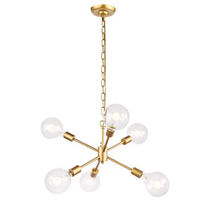 Nolan Brass 16-Inch Six-Light Pendant