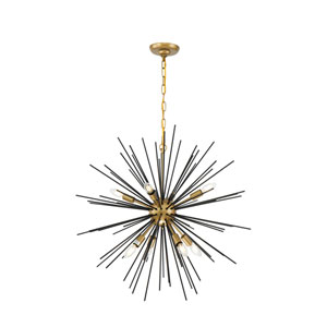 Timber Brass and Black 30-Inch Eight-Light Pendant