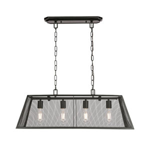 Zeke Black Four-Light Island Pendant