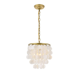 Selene Brass and White 10-Inch One-Light Pendant
