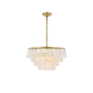 Selene Brass and White 20-Inch Four-Light Pendant