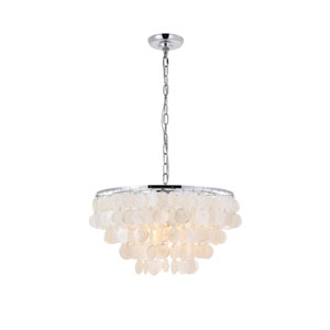 Selene Chrome and White 20-Inch Four-Light Pendant