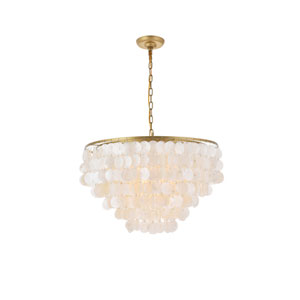 Selene Brass and White 26-Inch Six-Light Pendant