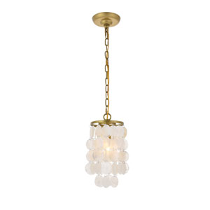 Selene Brass and White Six-Inch One-Light Mini Pendant
