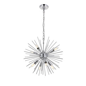 Timber Chrome 20-Inch Eight-Light Pendant