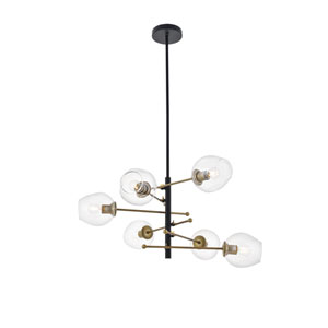 Paragon Matte Black and Brass Six-Light Pendant