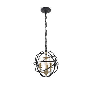 Wallace Matte Black and Brass 12-Inch Three-Light Pendant
