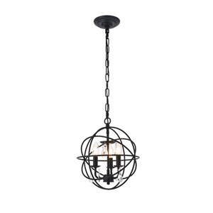Wallace Matte Black 12-Inch Three-Light Pendant