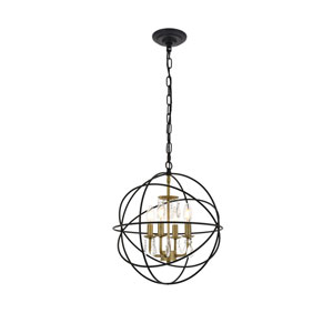 Wallace Matte Black and Brass 16-Inch Four-Light Pendant