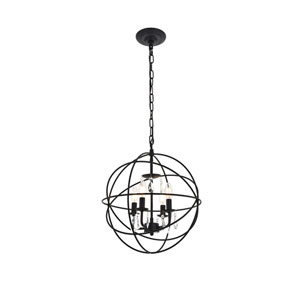 Wallace Matte Black 16-Inch Four-Light Pendant