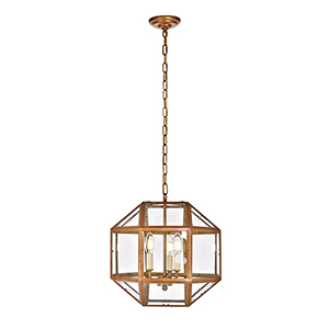 Caro Vintage Gold Three-Light Pendant