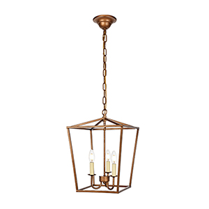 Maddox Vintage Gold Three-Light Pendant