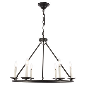 Maine Black 26-Inch Six-Light Chandelier