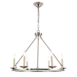 Maine Burnished Nickel 26-Inch Six-Light Chandelier