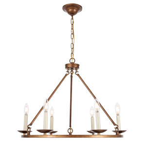 Maine Vintage Gold 26-Inch Six-Light Chandelier