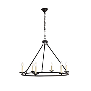 Maine Black Six-Light Chandelier