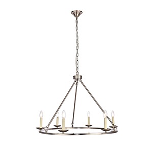 Maine Burnished Nickel Six-Light Chandelier