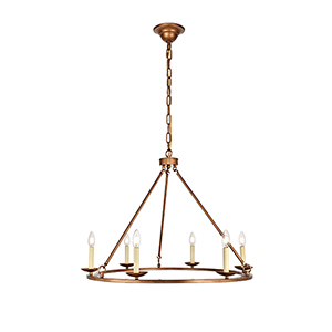 Maine Vintage Gold Six-Light Chandelier
