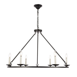 Maine Black 36-Inch Six-Light Chandelier