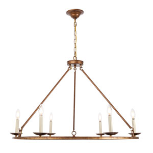 Maine Vintage Gold 36-Inch Six-Light Chandelier