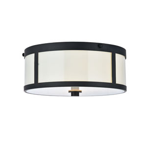 Hadrian Flat Black Two-Light Flush Mount