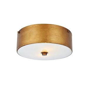 Hazen Vintage Gold and Frosted White Two-Light Flush Mount