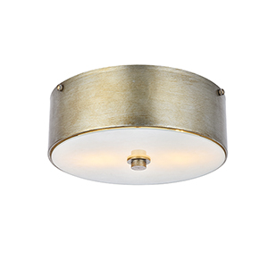 Hazen Vintage Silver and Frosted White Two-Light Flush Mount