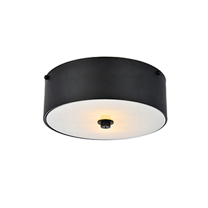 Hazen Flat Black and Frosted White Two-Light Flush Mount